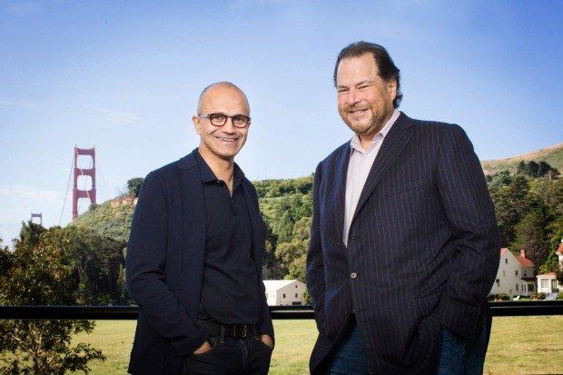 CEOs Microsoft Nadella Salesforce Benioff